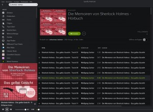 Sherlock Holmes bei Spotify (Screenshot)